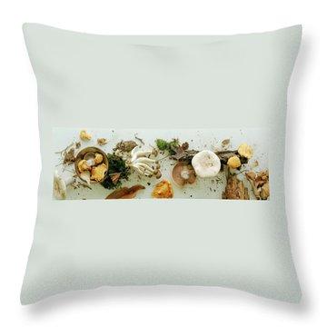 An Assortment Of Mushrooms Throw Pillow