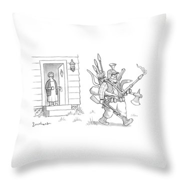 An Elderly Woman Calls Out From The Front Door Throw Pillow
