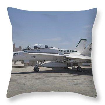 An Fa-18b Hornet In Centennial Markings Throw Pillow by Timm Ziegenthaler
