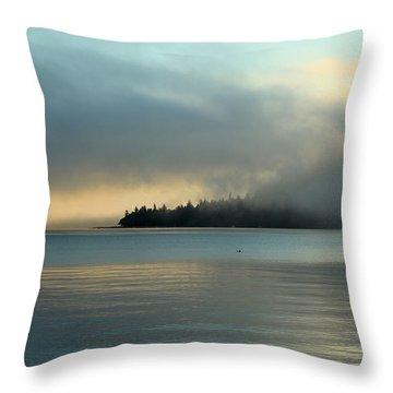 An Island In Fog Throw Pillow