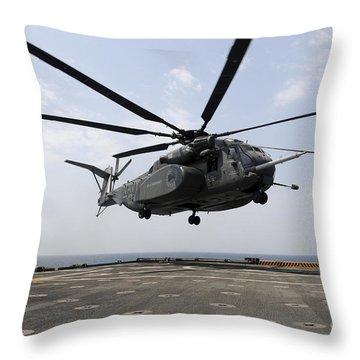 An Mh-53e Sea Dragon Prepares To Land Throw Pillow by Stocktrek Images