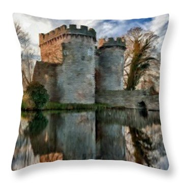 Ancient Whittington Castle In Shropshire England Throw Pillow