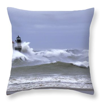 Angry Lake Michigan  Throw Pillow