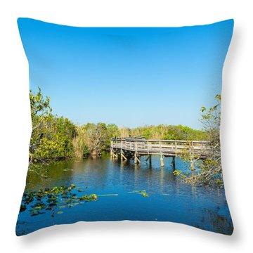 Anhinga Trail Boardwalk, Everglades Throw Pillow