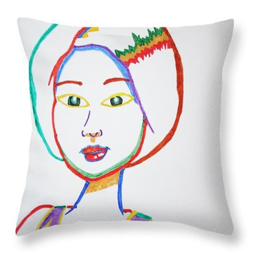 Throw Pillow featuring the painting Anime Asian Girl by Stormm Bradshaw