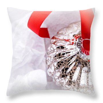Antique Glass Christmas Tree Bauble Throw Pillow