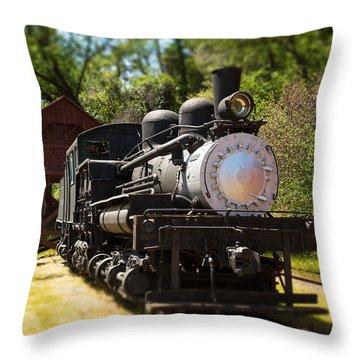 Antique Locomotive Throw Pillow by Jane Rix