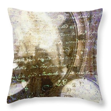 Antique Mirror And Clock Throw Pillow by Suzanne Powers