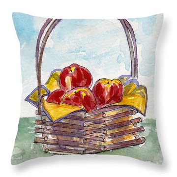 Throw Pillow featuring the pastel Apple Basket by Julie Maas