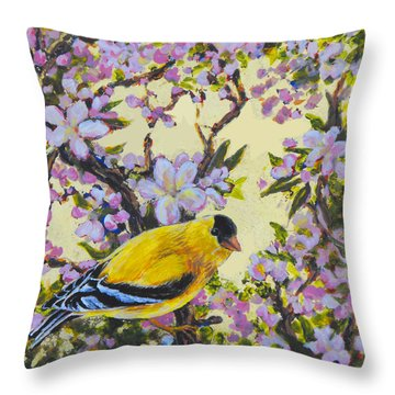Apple Blossom Perch Throw Pillow