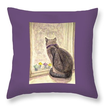 April Showers Throw Pillow by Angela Davies