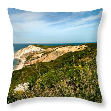 Aquinnah Gay Head Lighthouse Marthas Vineyard Massachusetts Throw Pillow by Michelle Wiarda