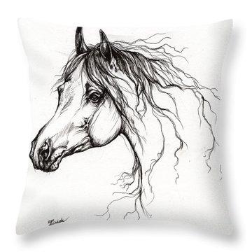 Arabian Horse Drawing 37 Throw Pillow by Angel  Tarantella