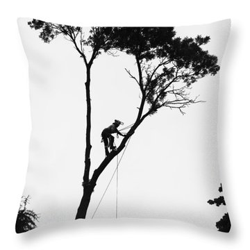 Arborist At Work Throw Pillow