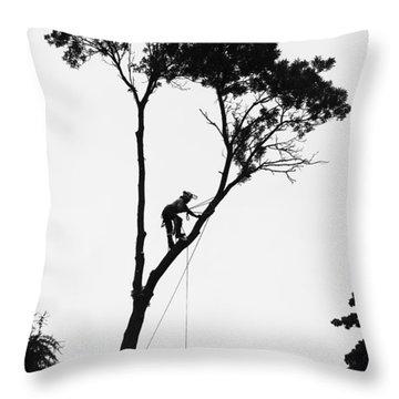 Arborist At Work Throw Pillow