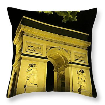 Arc De Triomphe At Night Throw Pillow by John Malone