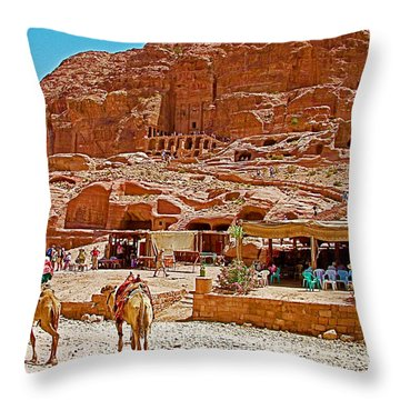 Area In Front Of Tombs Of The Kings In Petra-jordan Throw Pillow by Ruth Hager