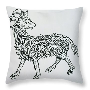 Aries An Illustration From The Poeticon Throw Pillow by Italian School