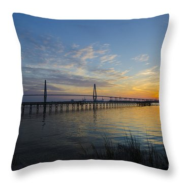 Sunset Over The Charleston Waters Throw Pillow by Dale Powell