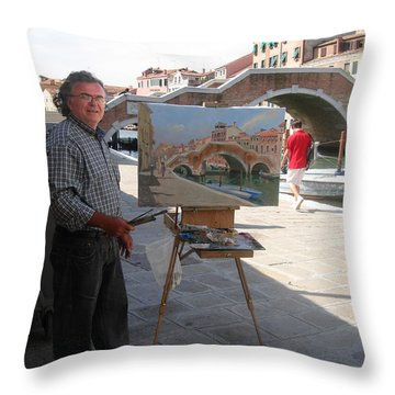 Artist At Work Venice Throw Pillow by Ylli Haruni