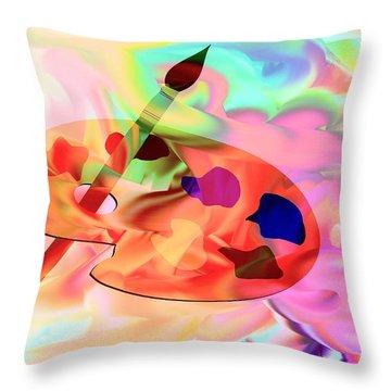 Artist Palette Throw Pillow by Annie Zeno