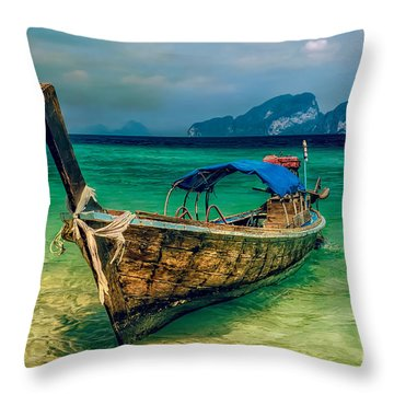 Asian Longboat Throw Pillow by Adrian Evans