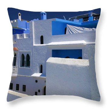 Throw Pillow featuring the photograph Asilah Meaning Authentic In Arabic Fortified Town On Northwest Tip Of Atlantic Coast Of Morocco by Ralph A  Ledergerber-Photography