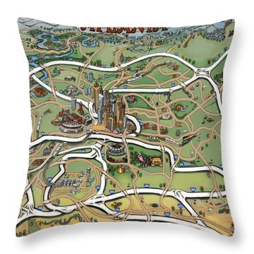Throw Pillow featuring the painting Atlanta Cartoon Map by Kevin Middleton