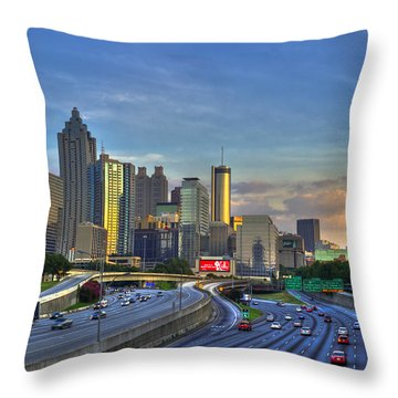 Atlanta Sunset Reflections Throw Pillow by Reid Callaway
