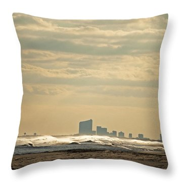 Atlantic City Skyline Throw Pillow by Elsa Marie Santoro