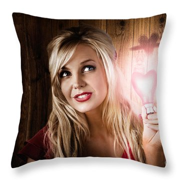 Attractive Young Blond Girl Holding Love Light Throw Pillow