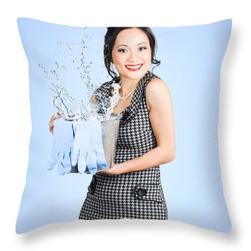 Attractive Young Woman Holding Cleaning Equipment Throw Pillow