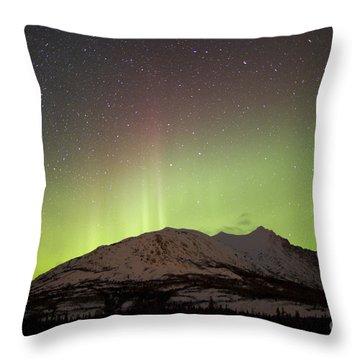 Aurora Borealis And Milky Way Throw Pillow by Joseph Bradley