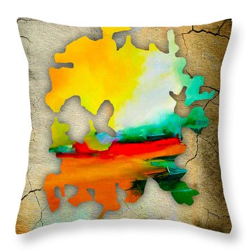 Austin Map And Skyline Watercolor Throw Pillow by Marvin Blaine