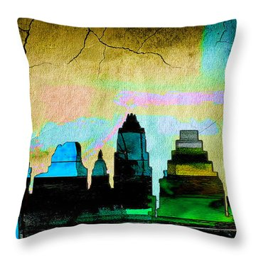 Austin Skyline Watercolor Throw Pillow