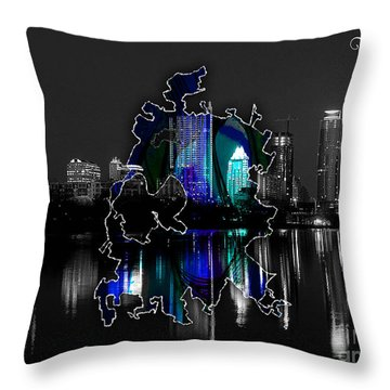 Austin Texas Map And Skyline Watercolor Throw Pillow