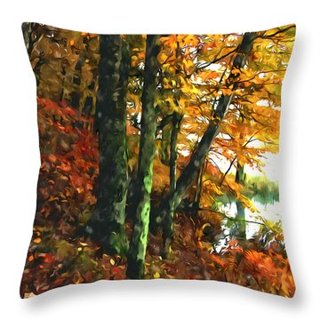 Autumn Colors In The Forest 1 Throw Pillow by Lanjee Chee