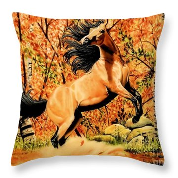 Autumn Frolick Throw Pillow by Cheryl Poland