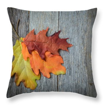 Autumn Leaves On Rustic Wooden Background Throw Pillow