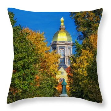 Autumn On The Campus Of Notre Dame Throw Pillow