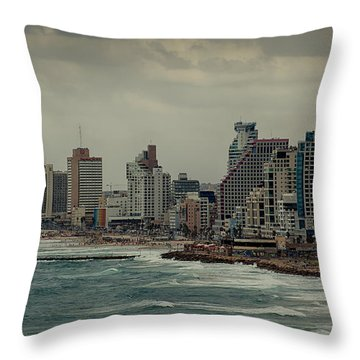 Throw Pillow featuring the photograph Autumn Over Tel Aviv by Uri Baruch
