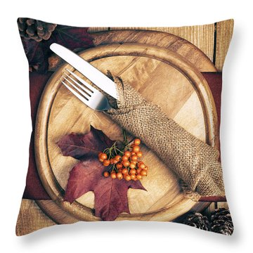 Autumn Table Setting Throw Pillow by Amanda Elwell
