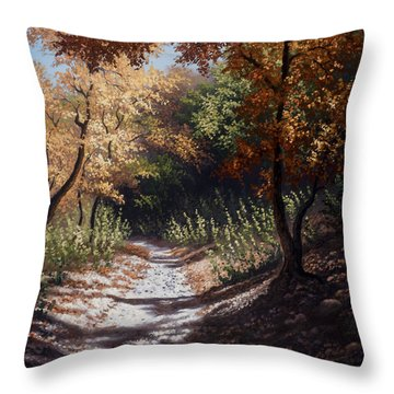Throw Pillow featuring the painting Autumn Trails by Kyle Wood