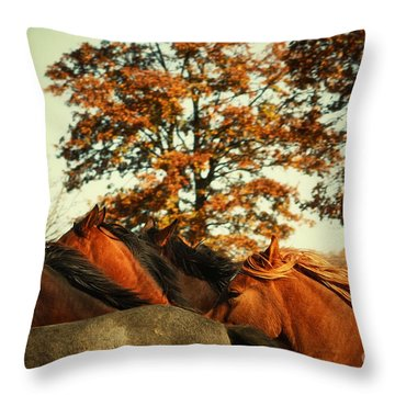 Autumn Wild Horses Throw Pillow