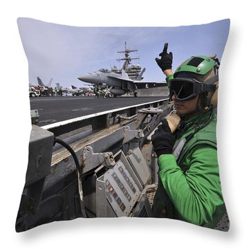 Aviation Boatswain's Mate Signals Throw Pillow by Stocktrek Images