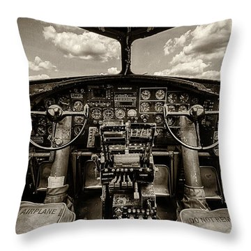 Cockpit Of A B-17 Throw Pillow