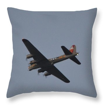 Throw Pillow featuring the photograph B-17 Flying Fortress Wwii Bomber Over Santa Rosa Sound At Twilight by Jeff at JSJ Photography