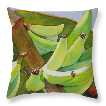 Throw Pillow featuring the painting Baby Bananas by Judy Mercer