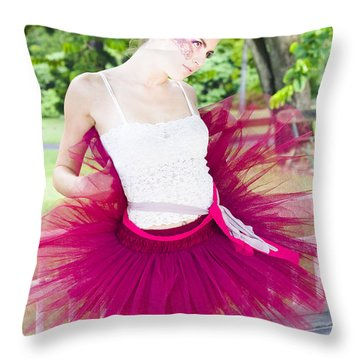 Ballerina Stretching And Warming Up Throw Pillow