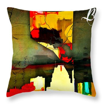 Baltimore Map And Skyline Watercolor Throw Pillow by Marvin Blaine